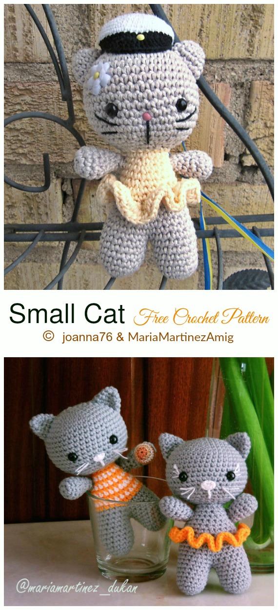 Crochet Small Cat Amigurumi Free Pattern - #Amigurumi; #Cat; Softies Free Crochet Patterns