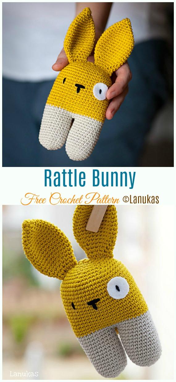 Rattle Bunny Crochet Free Pattern - Baby #Rattle; Free #Crochet; Patterns