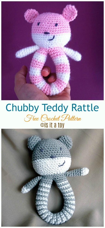 Chubby Teddy Rattle Crochet Free Pattern - Baby #Rattle; Free #Crochet; Patterns