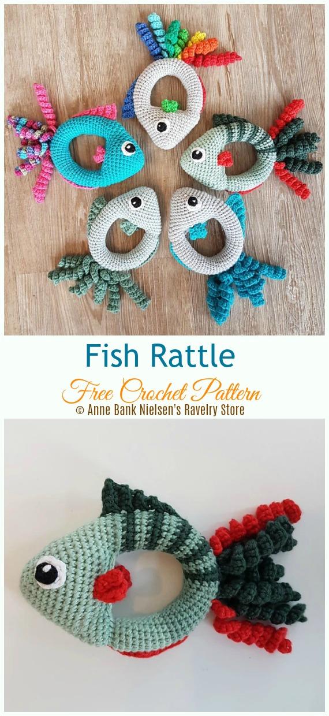 Fish Rattle Crochet Free Pattern - Baby #Rattle; Free #Crochet; Patterns