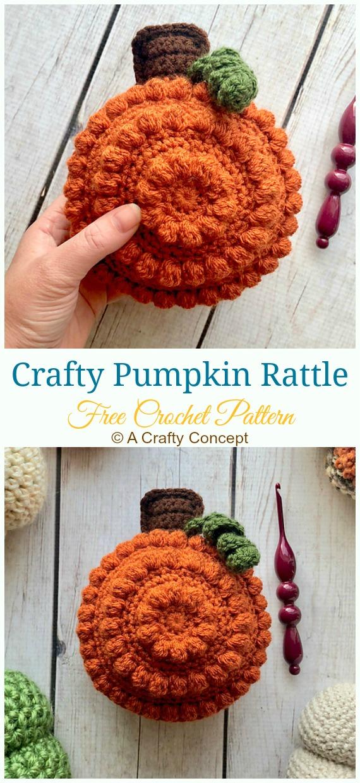 Crafty Pumpkin Rattle Crochet Free Pattern - Baby #Rattle; Free #Crochet; Patterns