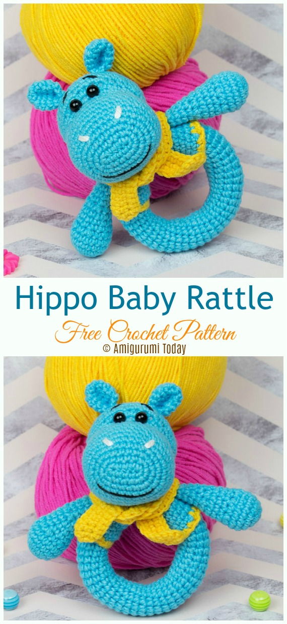 Hippo Baby Rattle Crochet Free Pattern - Baby #Rattle; Free #Crochet; Patterns