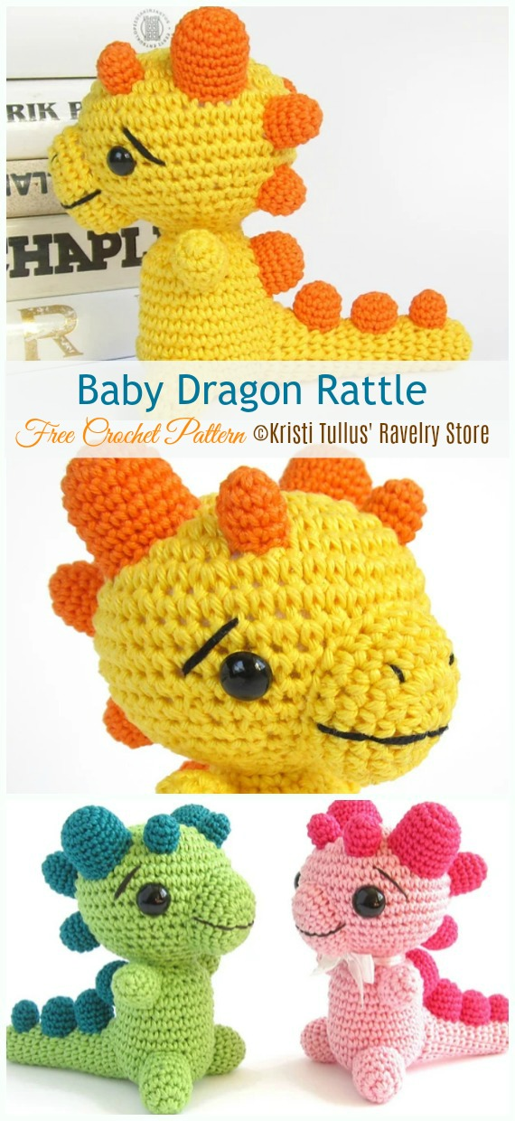 Baby Dragon Rattle Crochet Free Pattern - Baby #Rattle; Free #Crochet; Patterns