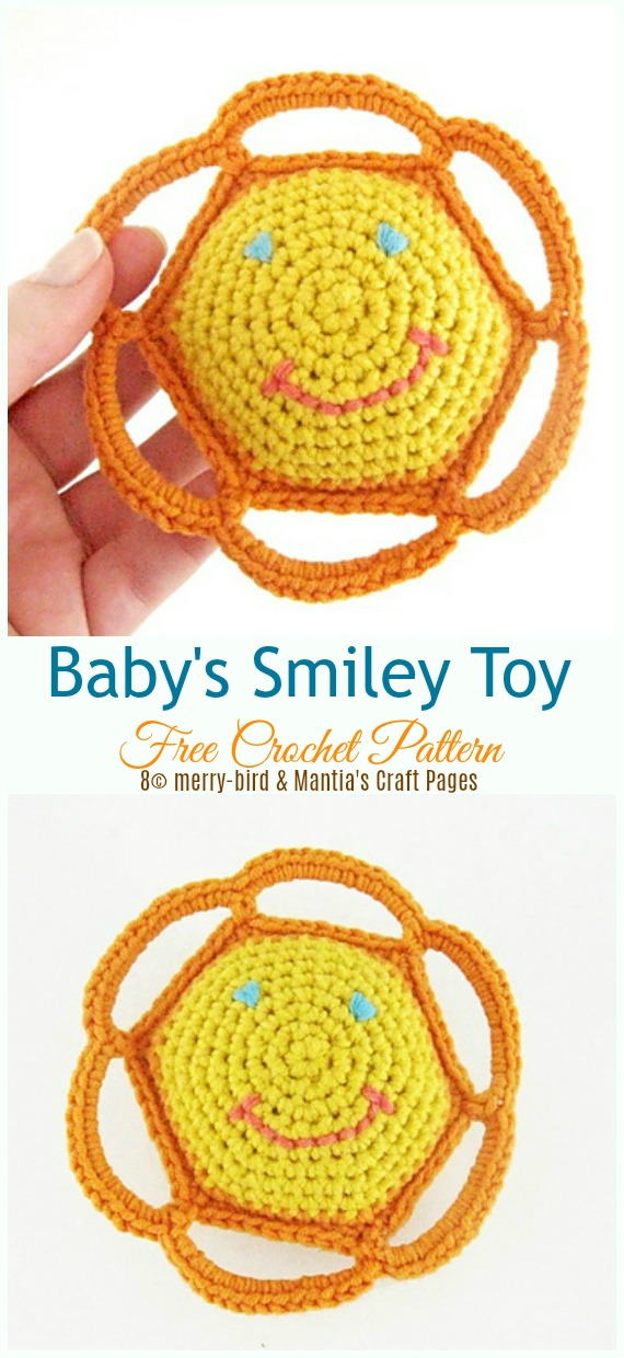 Baby's Smiley Toy Crochet Free Pattern - Baby #Rattle; Free #Crochet; Patterns