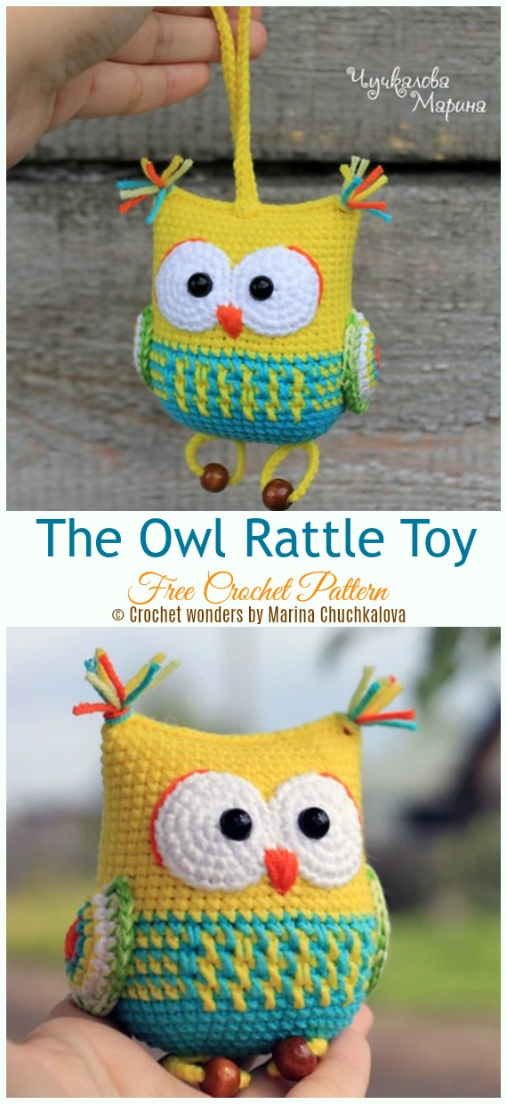 The Owl Rattle Toy Crochet Free Pattern - Baby #Rattle; Free #Crochet; Patterns