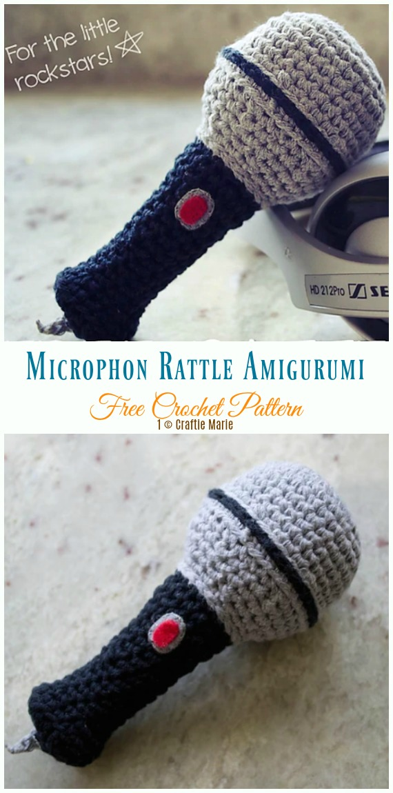 Microphone Amigurumi Rattle Crochet Free Pattern - Baby #Rattle; Free #Crochet; Patterns