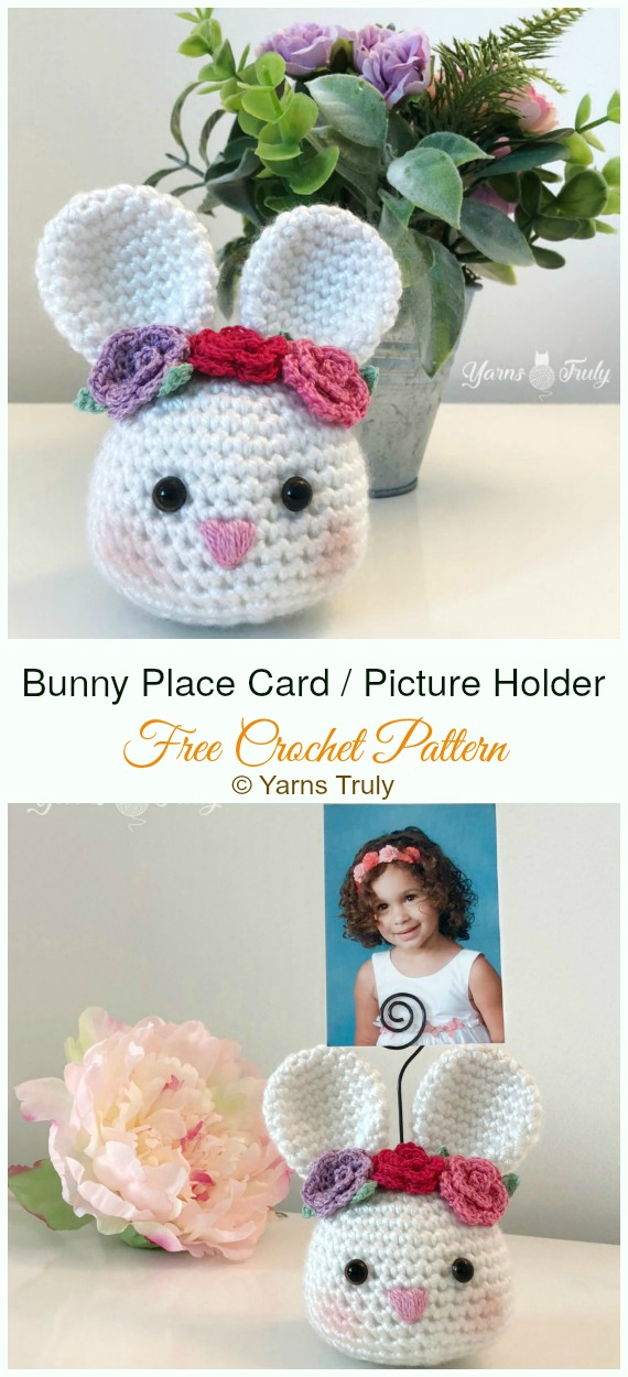 Amigurumi Bunny Place Card or Picture Holder Crochet Free Pattern - #Crochet; Amigurumi #Bunny; Toy Softies Free Patterns