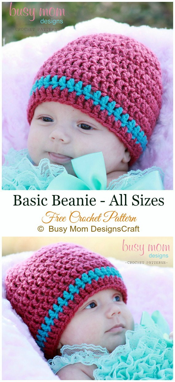 Basic Beanie Crochet Free Pattern - #Crochet; #Beanie; Hat Free Patterns