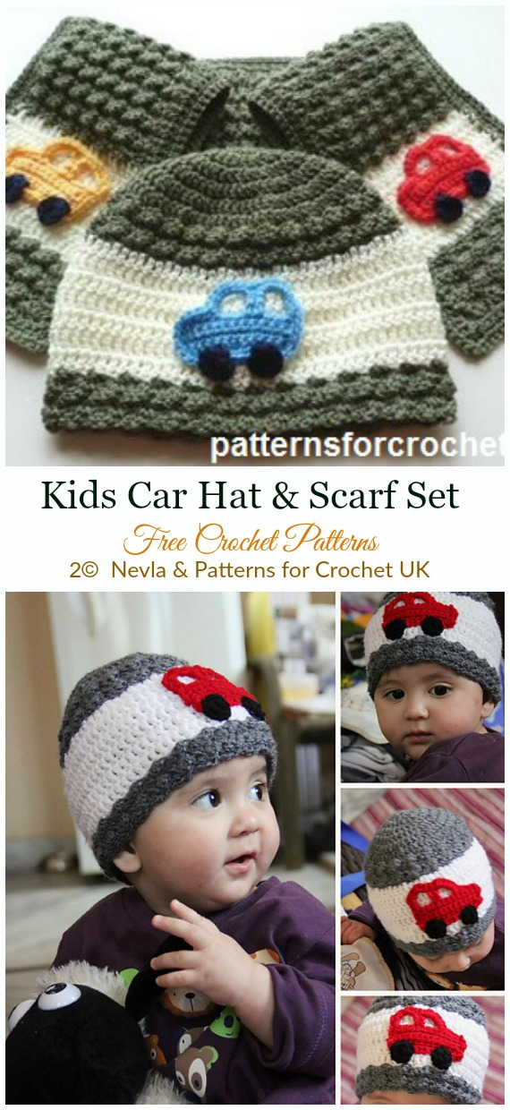 Crochet Kids Car Hat Scarf Crochet Free Pattern - #Crochet; #Beanie; Hat Free Patterns