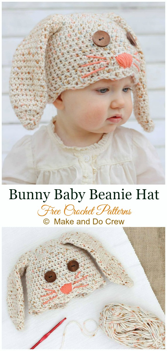 Bunny Baby Hat Crochet Free Pattern - #Crochet; #Beanie; Hat Free Patterns
