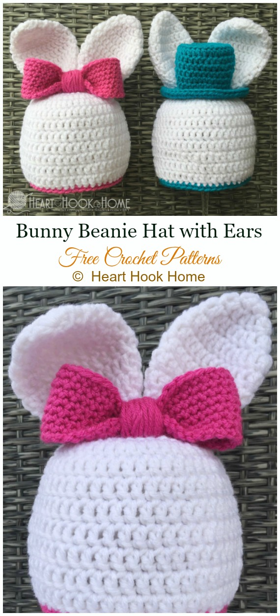 Bunny Beanie Hat with Ears Crochet Free Pattern - #Crochet; #Beanie; Hat Free Patterns