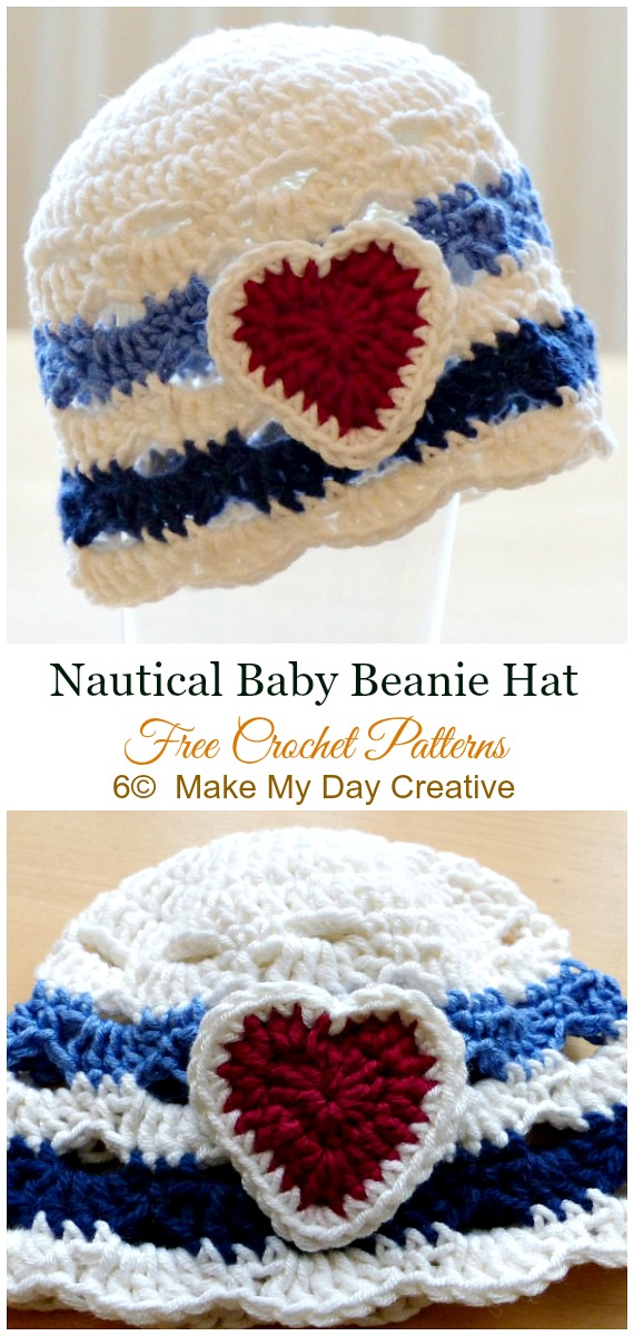 Nautical Baby Hat Crochet Free Pattern - #Crochet; #Beanie; Hat Free Patterns