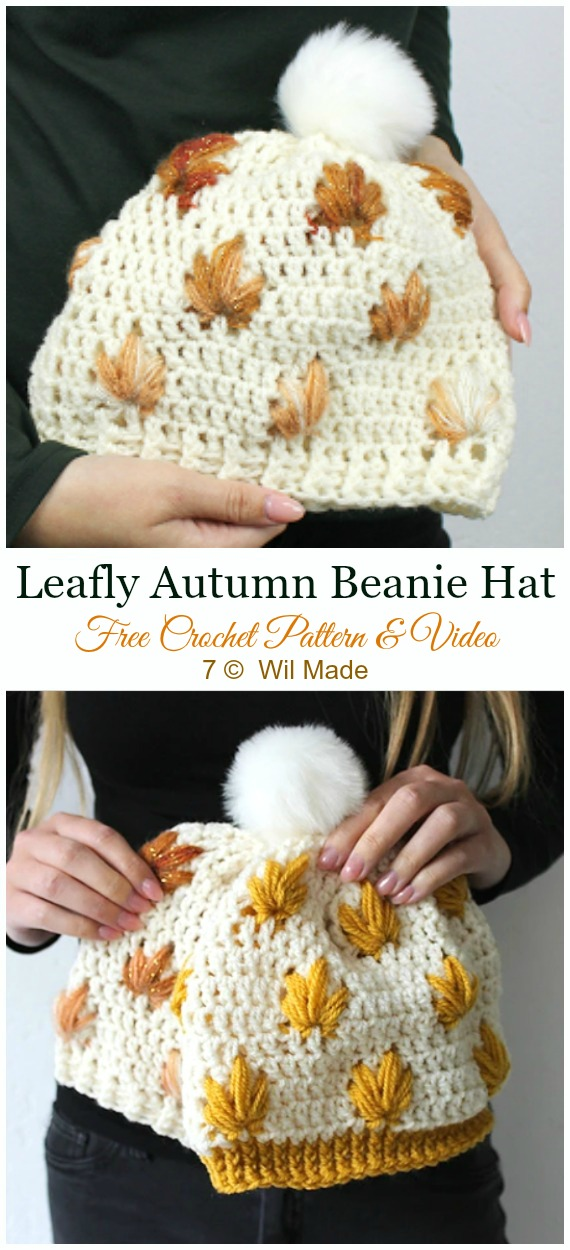Leafly Autumn Hat Crochet Free Pattern & Video - #Crochet; #Beanie; Hat Free Patterns