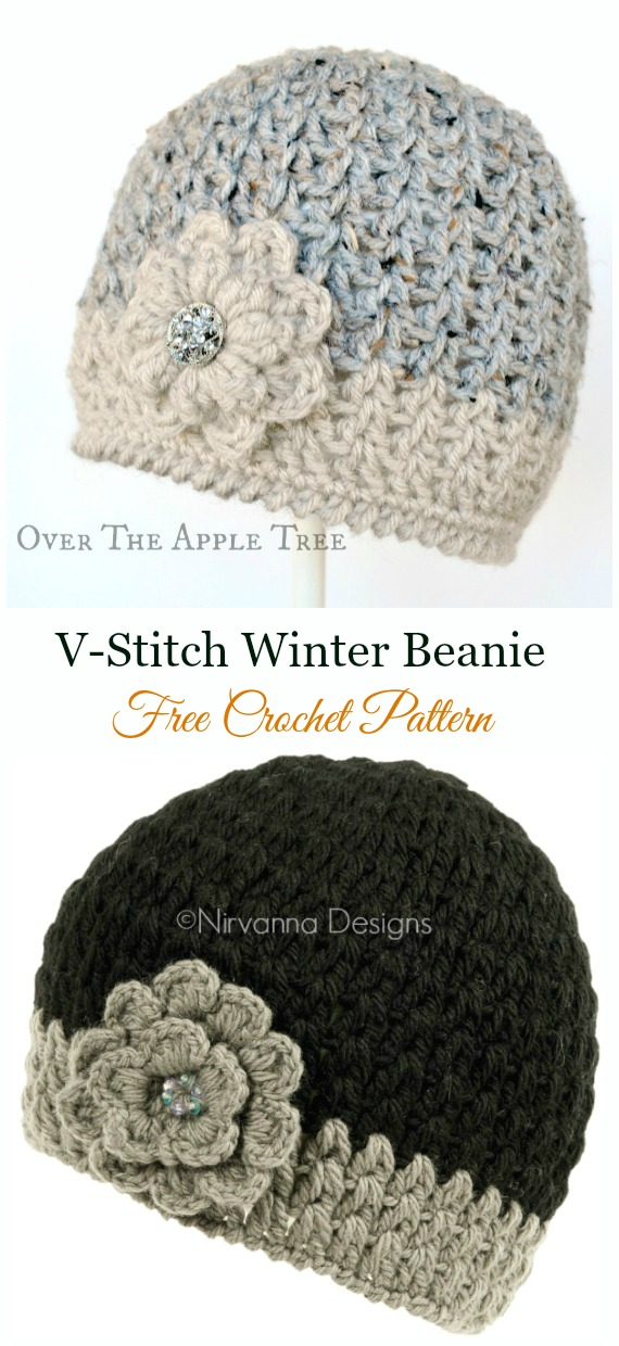 V-Stitch Winter Beanie Crochet Free Pattern –  Crochet   Beanie  Hat Free  Patterns ac95daacee76
