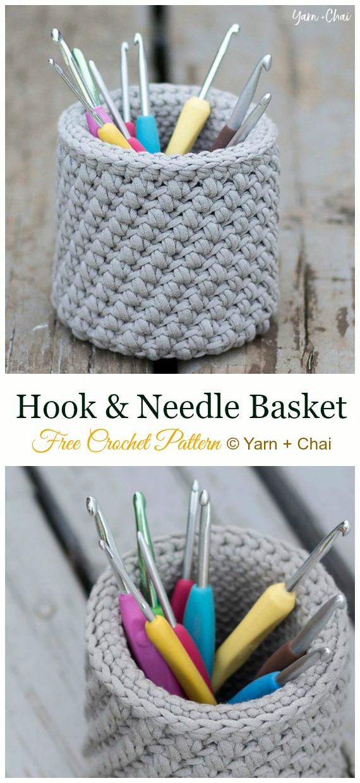 Hook & Needle Basket Crochet Free Pattern - #Crochet #HookCase & Holders Free Patterns