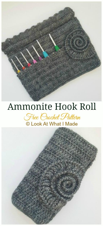 Ammonite Hook Roll Crochet  Free Pattern - #Crochet #HookCase & Holders Free Patterns