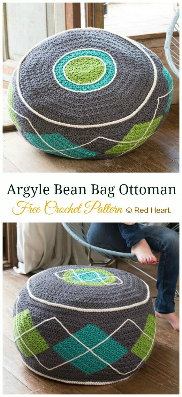 Argyle Bean Bag Ottoman Crochet Free Pattern - #Crochet; Poufs & #Ottoman; Free Patterns