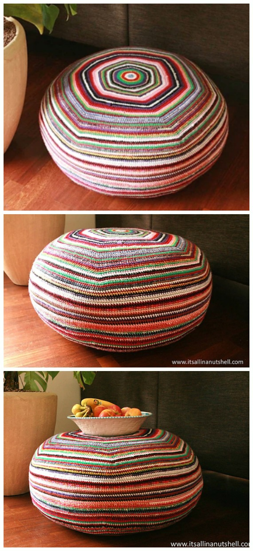 Stripey Pouf Crochet Free Pattern - #Crochet; Poufs & #Ottoman; Free Patterns