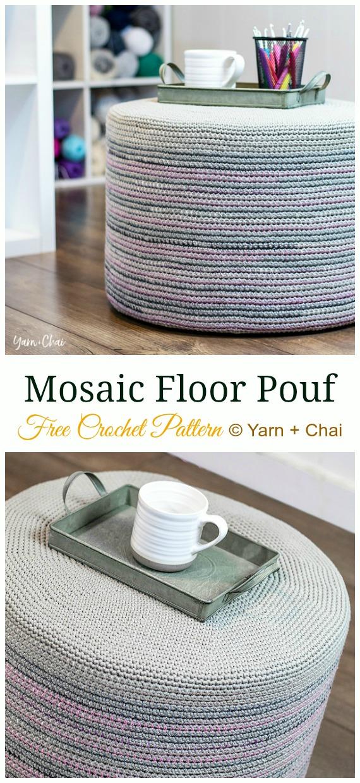 Mosaic Floor Pouf Crochet Free Pattern - #Crochet; Poufs & #Ottoman; Free Patterns