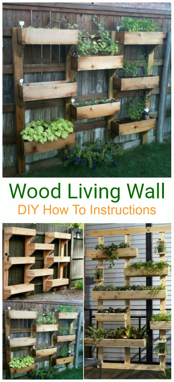 DIY Wood Living Wall Tutorial - DIY Space Saving Vertical #Garden Projects Picture #Instructions