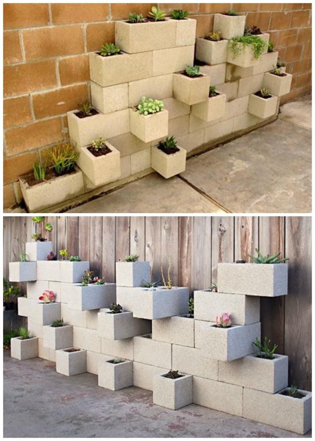 Cinder Block Succulent Planter Tutorial - DIY Space Saving Vertical #Garden Projects Picture #Instructions