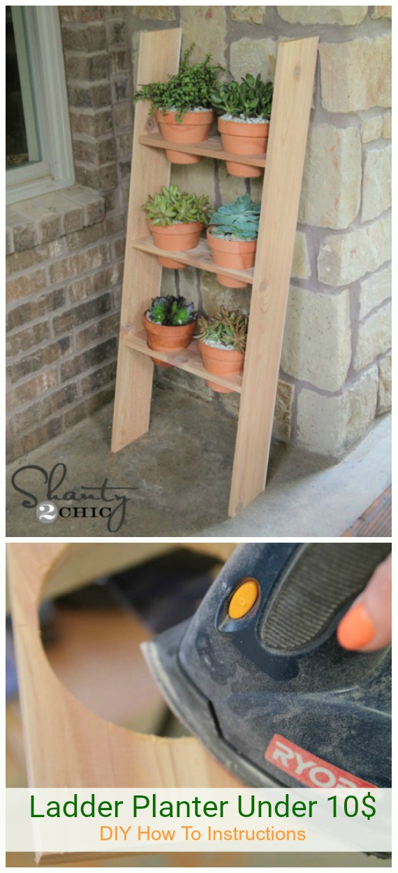 DIY Ladder Planter Under 10$ Tutorial - DIY Space Saving Vertical #Garden Projects Picture #Instructions