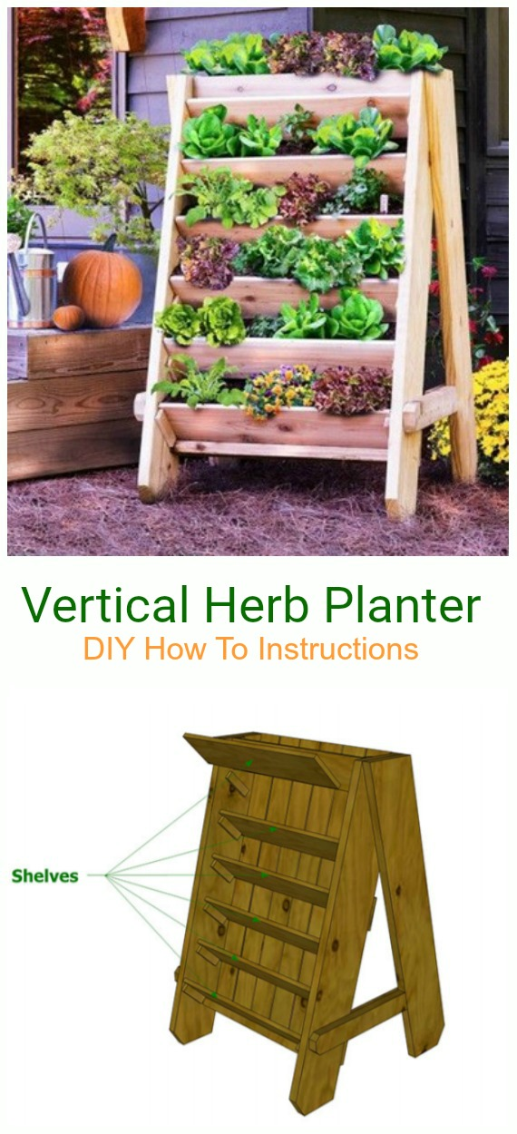 DIY Vertical Herb Planter Tutorial - DIY Space Saving Vertical #Garden Projects Picture #Instructions