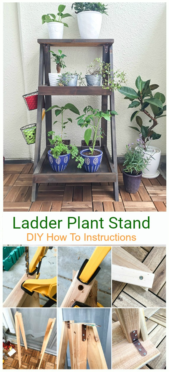 DIY Ladder Plant Stand Tutorial - DIY Space Saving Vertical #Garden Projects Picture #Instructions