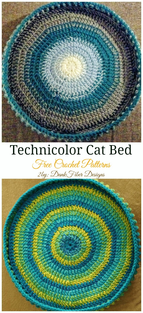 Technicolor Cat Bed Crochet Free Pattern - Easy #Pet; #Bed; Free #Crochet;Patterns
