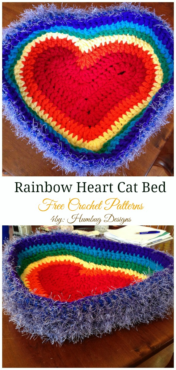 Rainbow Heart Cat Bed Crochet Free Pattern - Easy #Pet; #Bed; Free #Crochet;Patterns