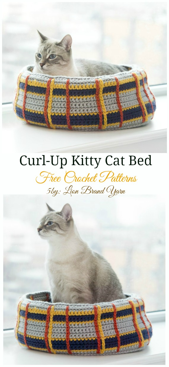 Curl-Up Kitty Cat Bed Crochet Free Pattern - Easy #Pet; #Bed; Free #Crochet;Patterns