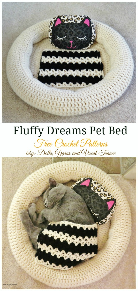 Fluffy Dreams Pet Bed Crochet Free Pattern - Easy #Pet; #Bed; Free #Crochet;Patterns
