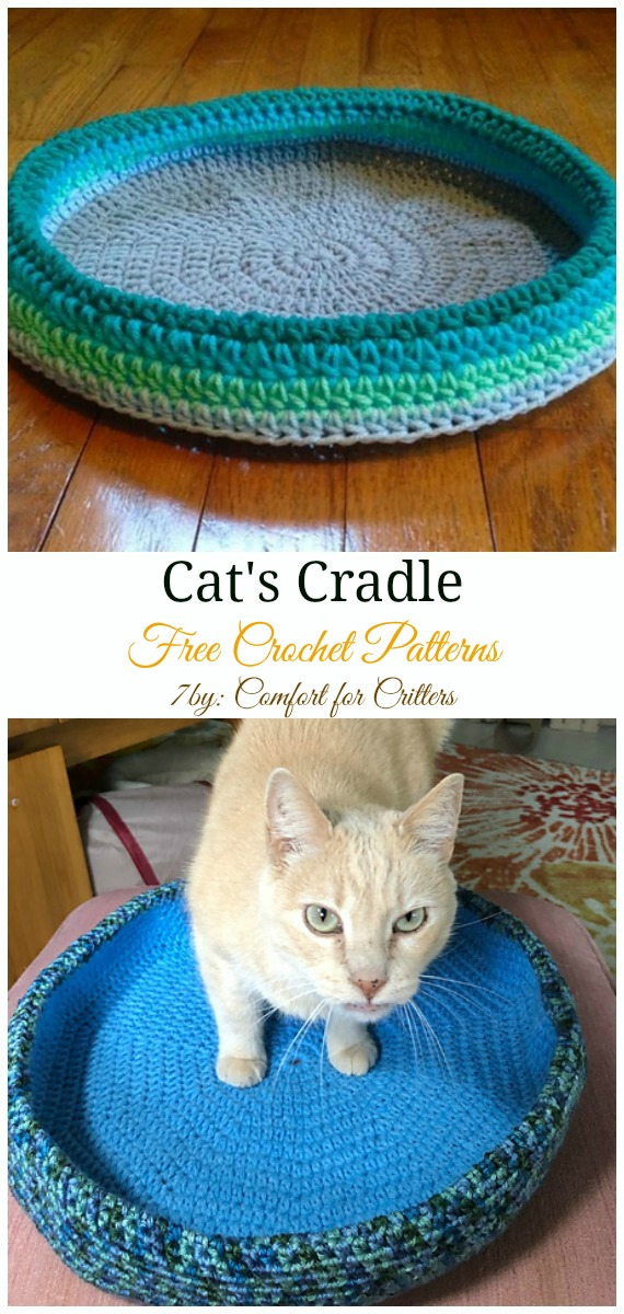 Cat's Cradle Crochet Free Pattern - Easy #Pet; #Bed; Free #Crochet;Patterns