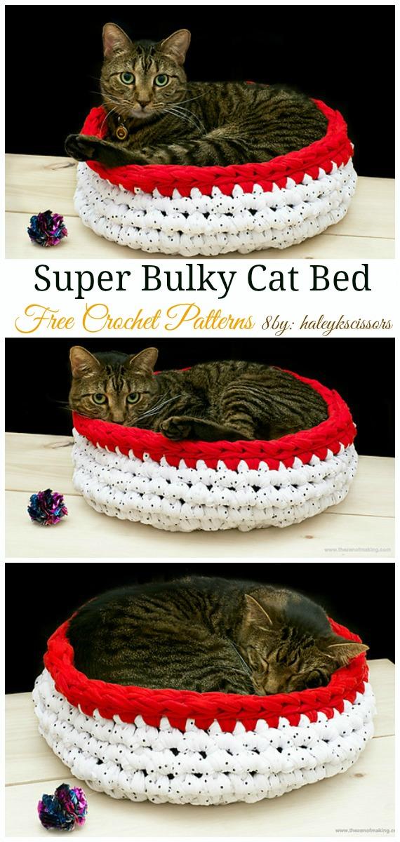 Super Bulky Crocheted Cat Bed Crochet Free Pattern - Easy #Pet; #Bed; Free #Crochet;Patterns