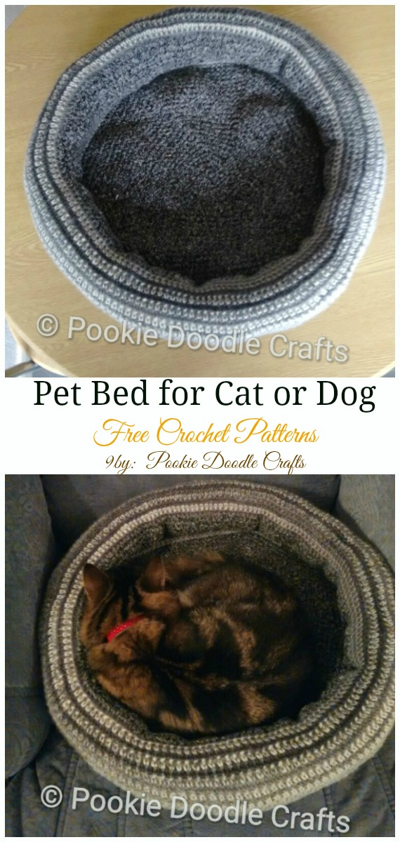 Pet Bed for Cat or Dog Crochet Free Pattern - Easy #Pet; #Bed; Free #Crochet;Patterns