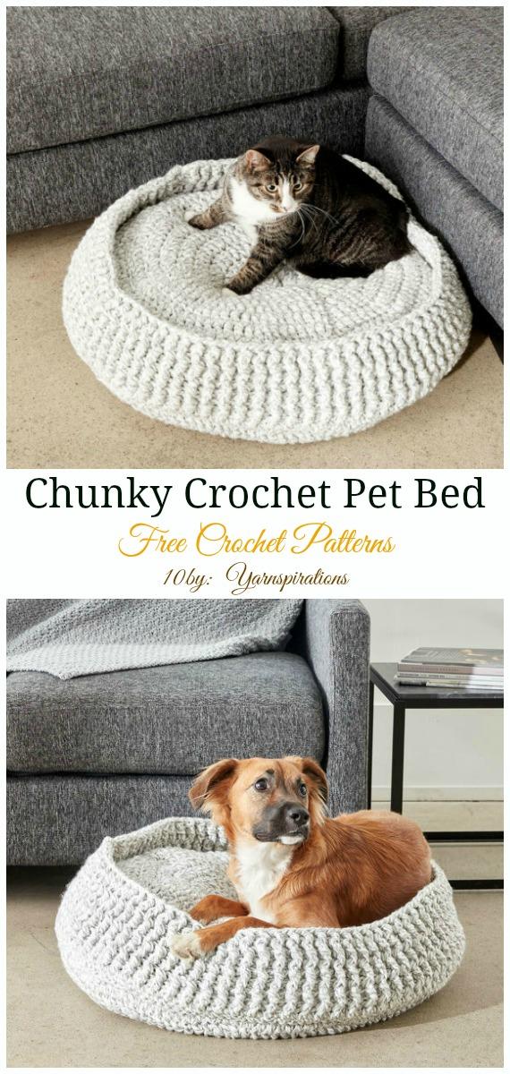 Small Chunky Crochet Pet Bed Crochet Free Pattern - Easy #Pet; #Bed; Free #Crochet;Patterns