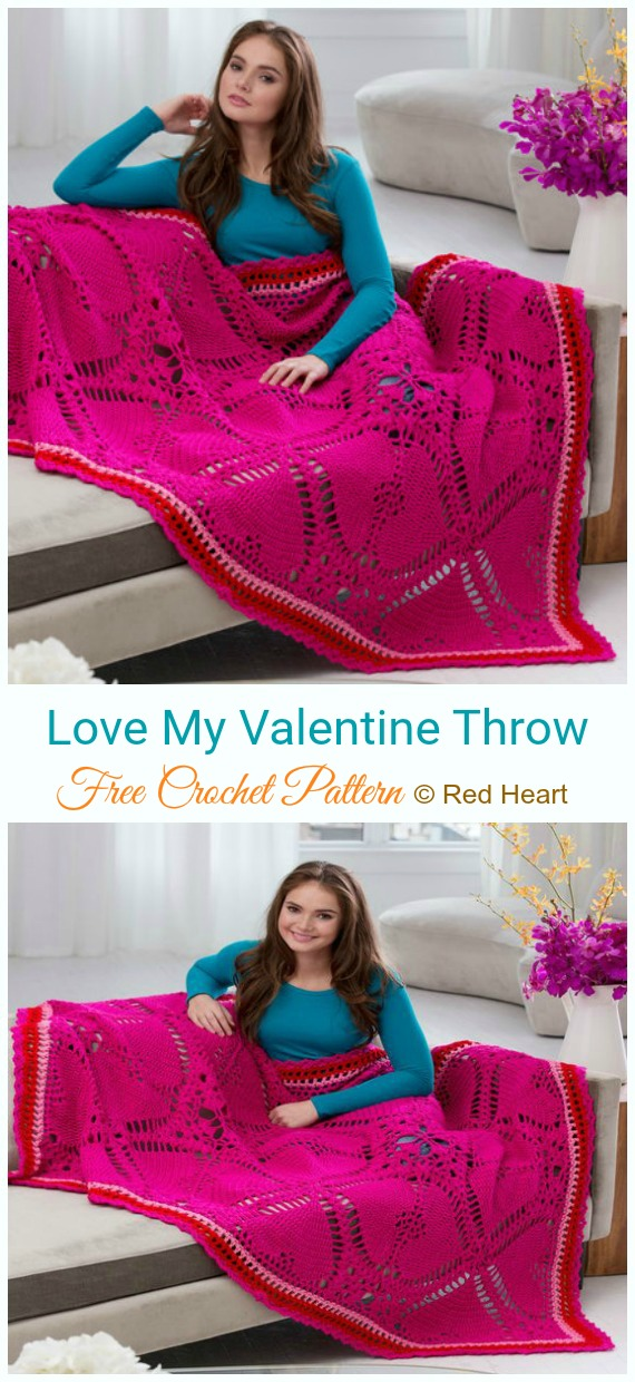 Love My Valentine Throw Crochet Free Pattern - #Valentine; #Heart Throw #Blanket; Free #Crochet; Patterns