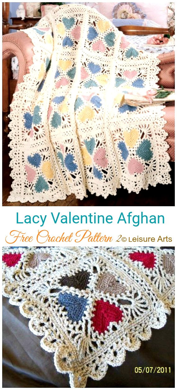 Lacy Valentine Afghan Crochet Free Pattern - #Valentine; #Heart Throw #Blanket; Free #Crochet; Patterns