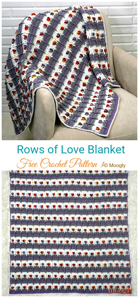 Rows of Love Blanket Crochet Free Pattern - #Valentine; #Heart Throw #Blanket; Free #Crochet; Patterns