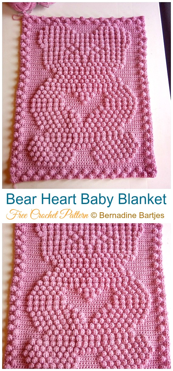 Bear Heart Baby Blanket Crochet Free Pattern - #Valentine; #Heart Throw #Blanket; Free #Crochet; Patterns