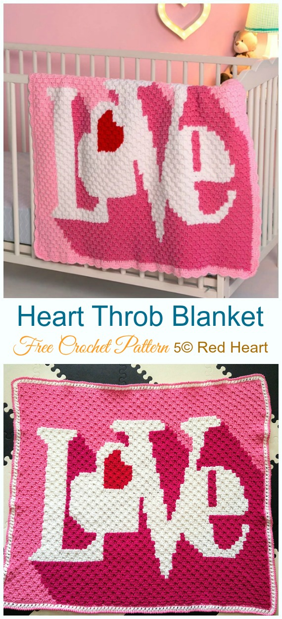 Heart Throb Blanket Crochet Free Pattern - #Valentine; #Heart Throw #Blanket; Free #Crochet; Patterns