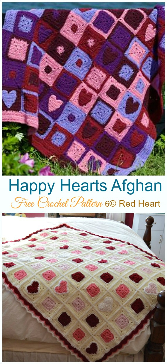 Happy Hearts Afghan Crochet Free Pattern - #Valentine; #Heart Throw #Blanket; Free #Crochet; Patterns