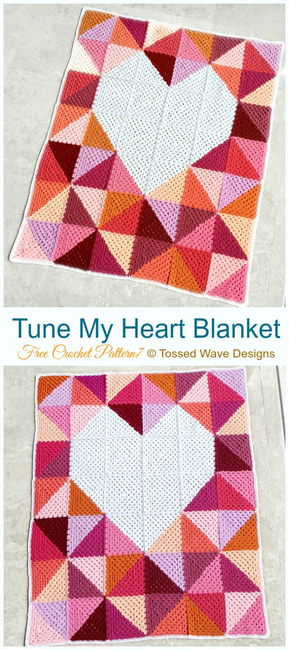 Tune My Heart Blanket Crochet Free Pattern - #Valentine; #Heart Throw #Blanket; Free #Crochet; Patterns