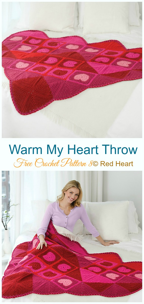 Warm My Heart Throw Crochet Free Pattern - #Valentine; #Heart Throw #Blanket; Free #Crochet; Patterns