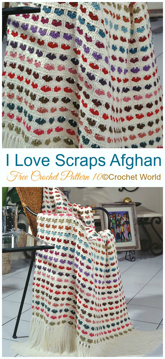 I Love Scraps Afghan Crochet Free Pattern - #Valentine; #Heart Throw #Blanket; Free #Crochet; Patterns