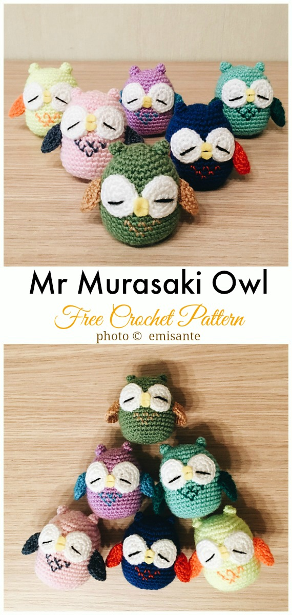 Mr Murasaki Owl Amigurumi Free Pattern - #Amigurumi; Crochet #Owl; Toy Softies Free Patterns