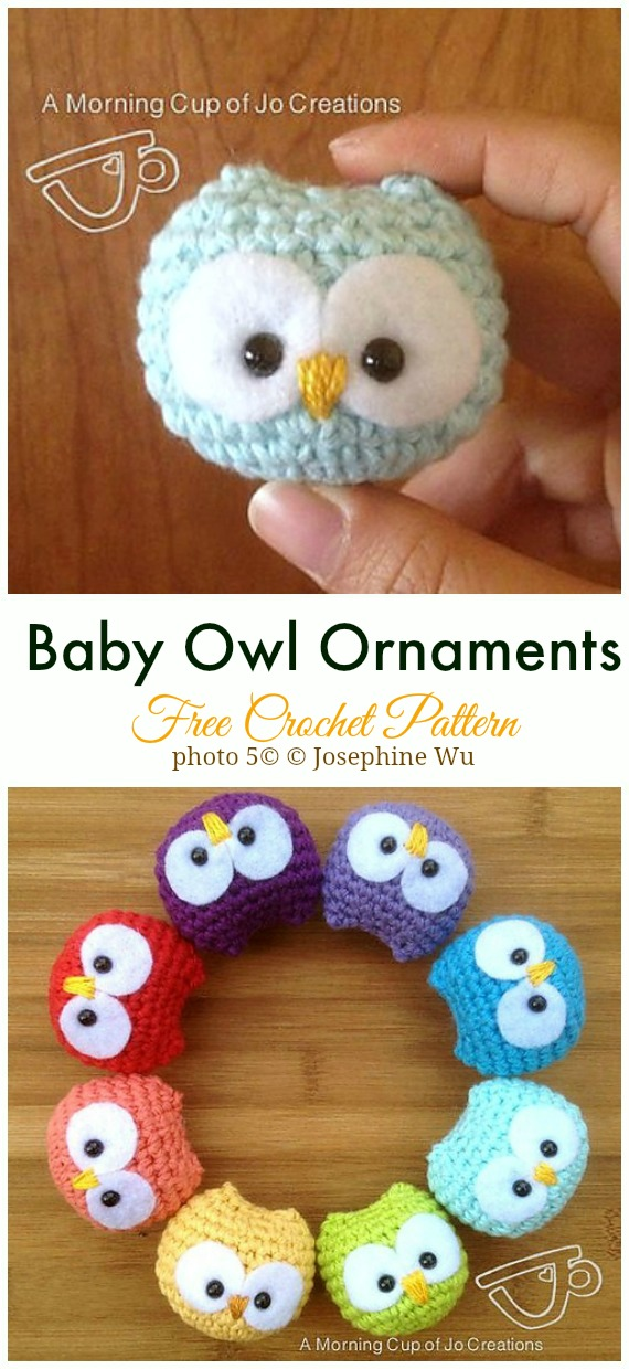 Crochet Baby Owl Ornaments Amigurumi Free Pattern - #Amigurumi; Crochet #Owl; Toy Softies Free Patterns