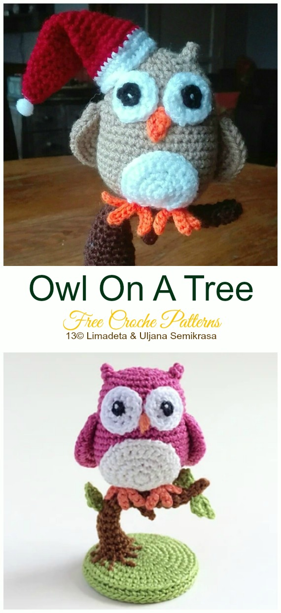 Crochet Owl on a Tree Amigurumi Free Pattern - #Amigurumi; Crochet #Owl; Toy Softies Free Patterns