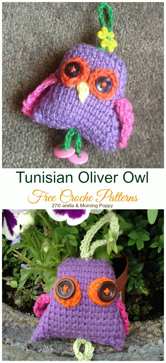 Tunisian Crochet Oliver Owl Amigurumi Free Pattern - #Amigurumi; Crochet #Owl; Toy Softies Free Patterns