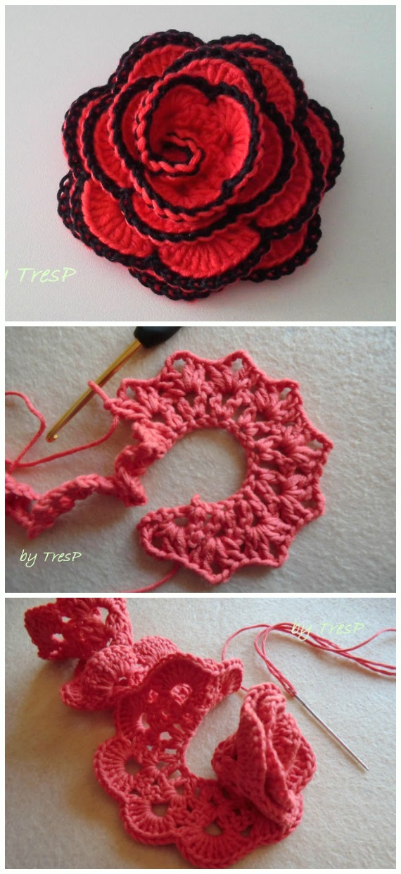 Perfect 3D Rose Flower Crochet Free Pattern - #Crochet; 3D #Rose; Flowers Free Patterns